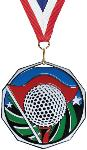 Golf Decagon Colored Medal