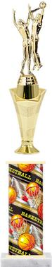 Basketball - Double - Male  Star riser and Rectangular column Star Burst Trophy